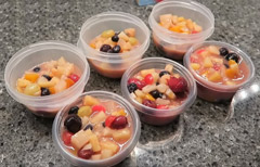 Canned fruit salad with vanilla pudding