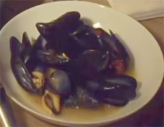 Traditional Italian Mussels with white wine garlic and tomatoes