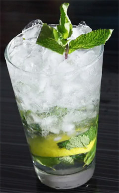 Vodka with crushed lime and mint